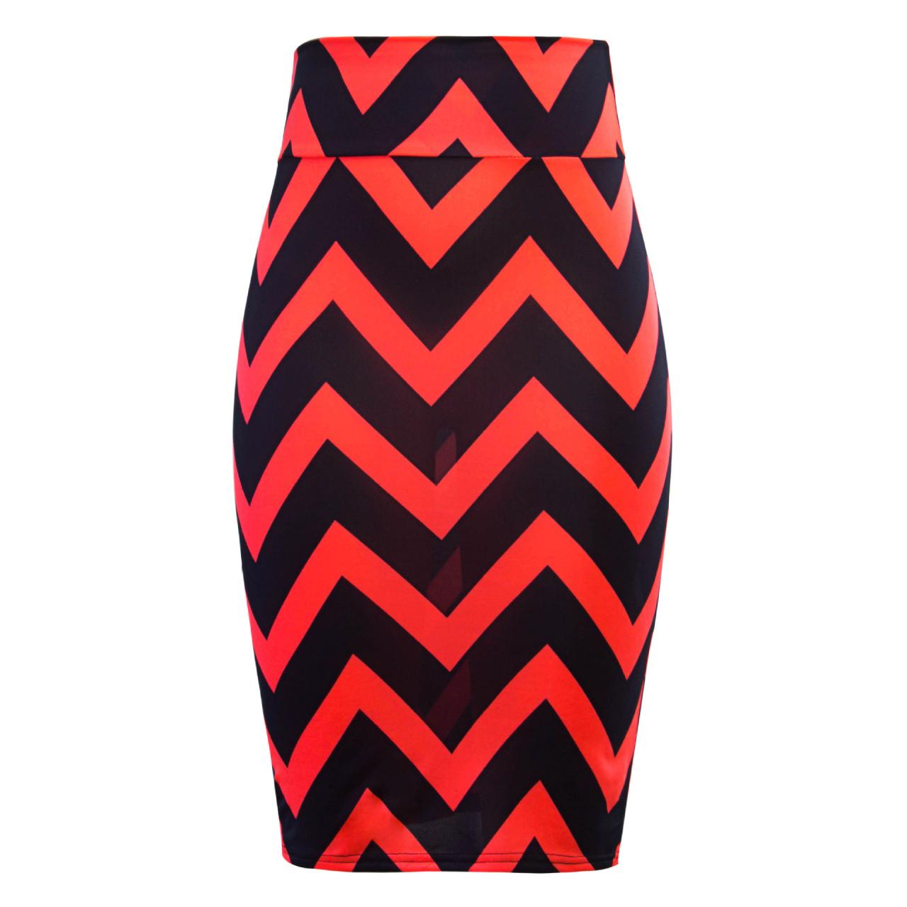 Women Striped Pencil Skirt Slim High Waist Knee-Length OL Work Office Bodycon Skirt 9#