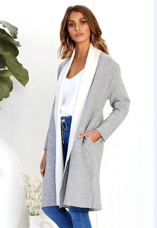 Women Woolen Trench Coat Autumn Warm Patchwork Casual Long Sleeve Cardigan Jacket gray+white