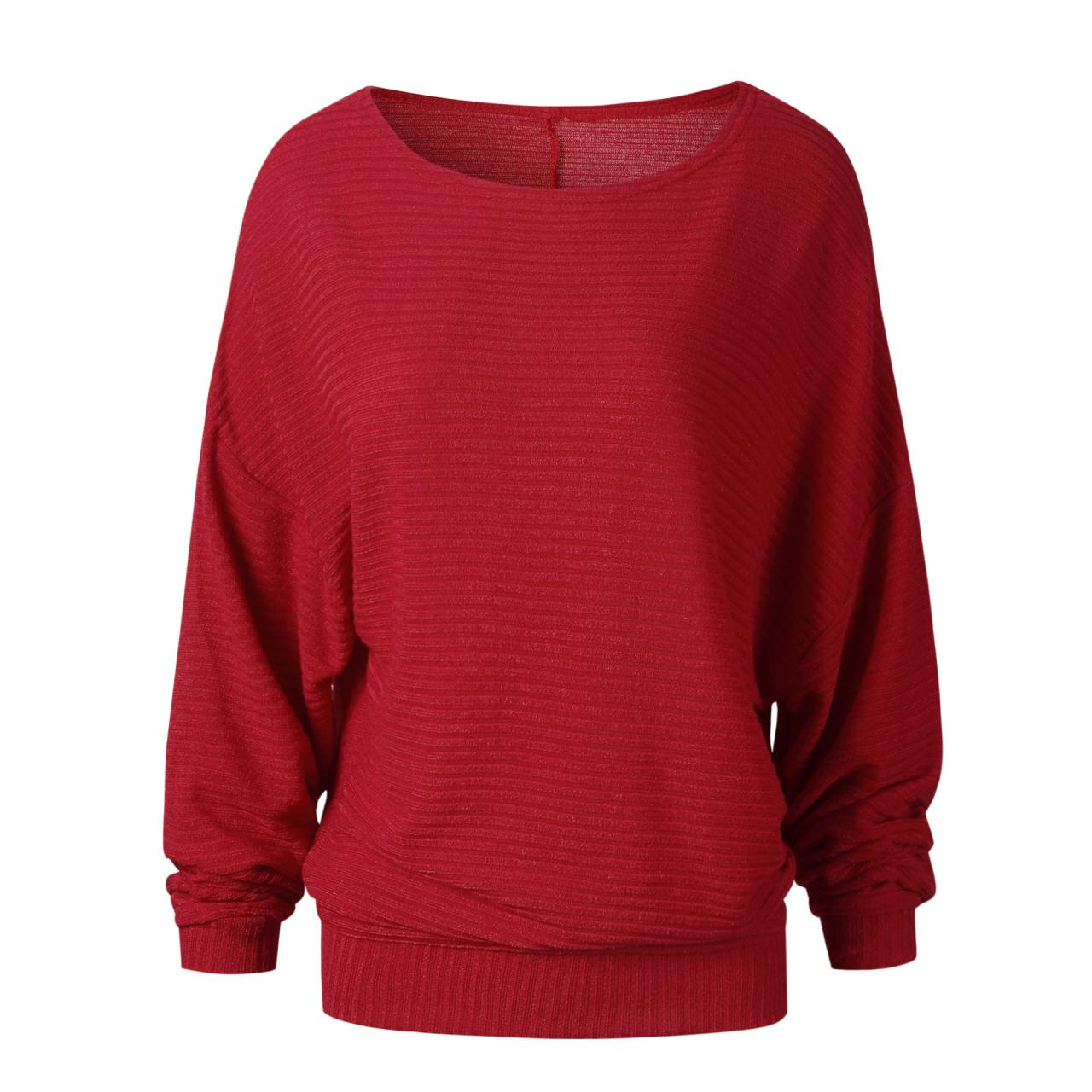 Women Knitted Sweater Spring Autumn Bat Long Sleeve Loose Oversized Pullover Tops red