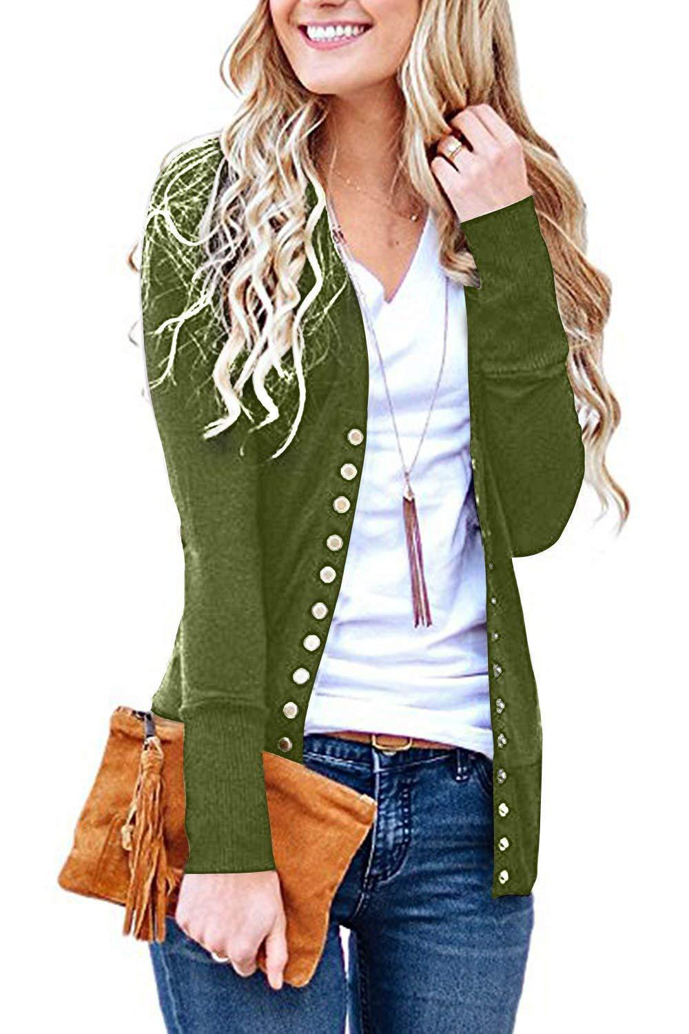 7ecf3f7f249 Women Cropped Cardigan V Neck Long Sleeve Button Slim Short Sweater Coat Jacket  moss green
