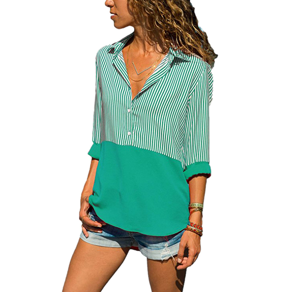 Women Striped Patchwork Tops Shirt V Neck Button Casual Long Sleeve Plus Size Blouses green