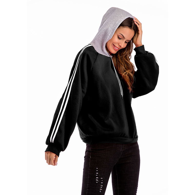 Women Hoodies Autumn Casual Long Sleeve Patchwork Loose Hooded Pullover Sweatshirts black