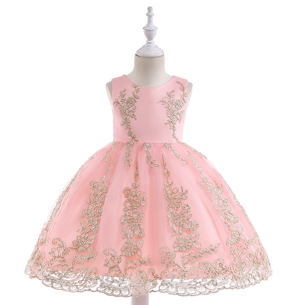 Embroidery Lace Flower Girl Dress Princess Sleeveless Formal Birthday Party Tutu Gown Children Clothes salmon