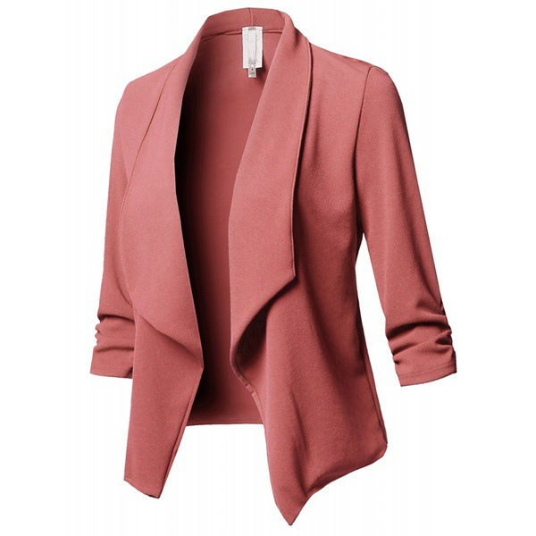 Women Suit Coat Casual Long Sleeve Autumn Work Office Business Slim Basic Long Blazer Jacket Outerwear pink