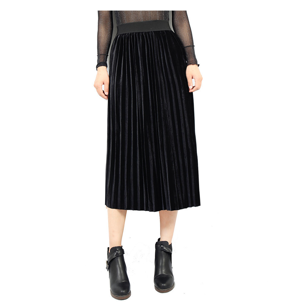 ca26a71146 Women Velvet Pleated Skirt Autumn Winter Elastic High Waist Streetwear  European Style Casual Midi Skirt black