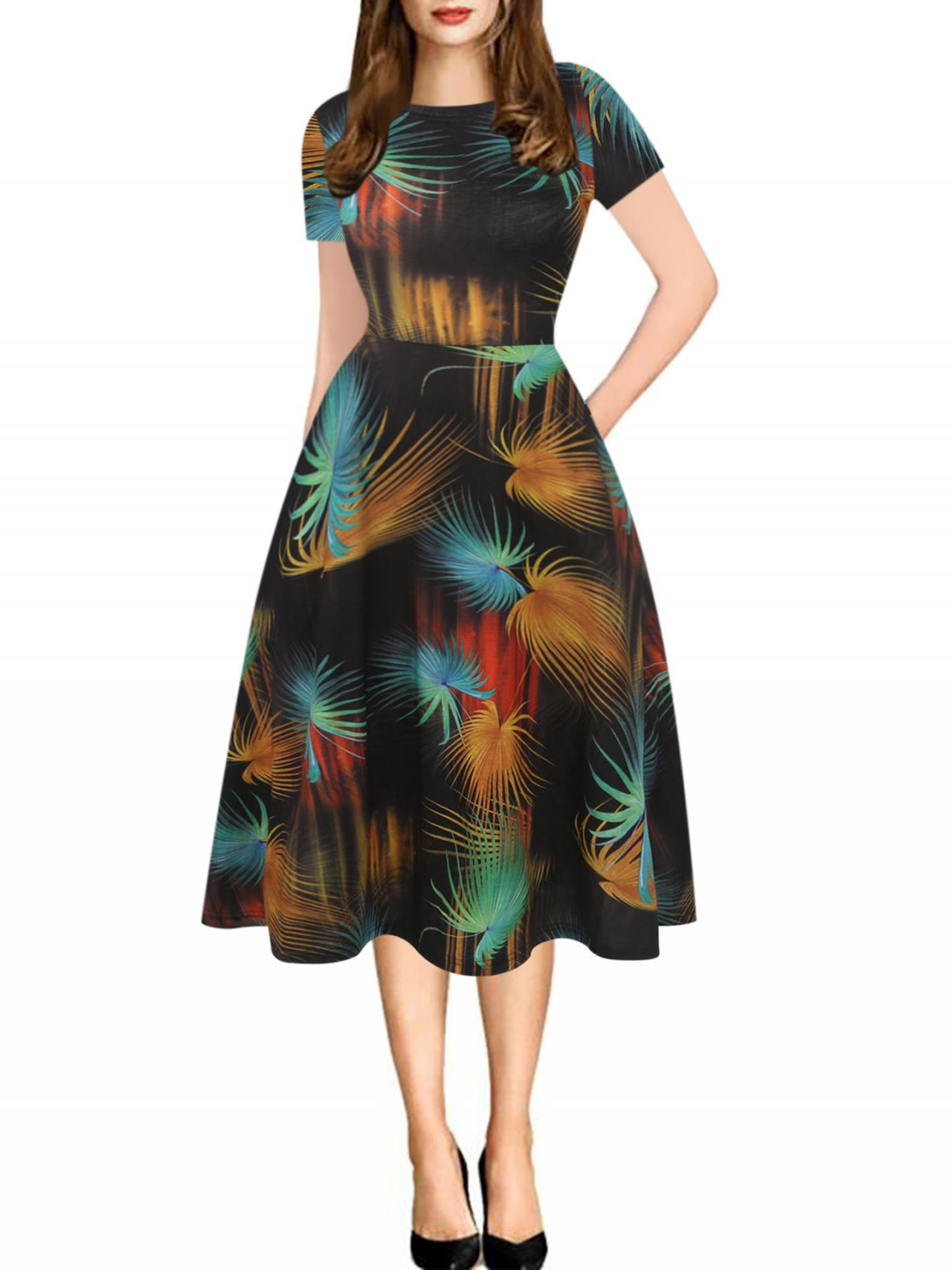Women Floral Printed Slim Dress Vintage Short Sleeve Knee Length A-line Rockabilly Casual Party Dress 11#