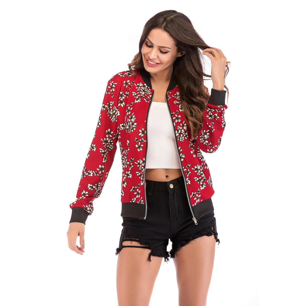 Women Baseball Uniform Coat Crane/Floral/Striped Printed Autumn Long Sleeve Zipper Casual Slim Jacket Outerwear 9#