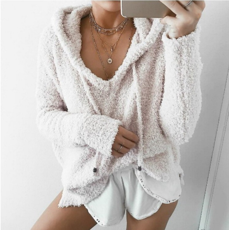 Women Fluffy Mohair Sweatshirt Autumn Warm Fleece Hoodies Drawstring V-Neck Hooded Long Sleeve Loose Pullover Tops ivory