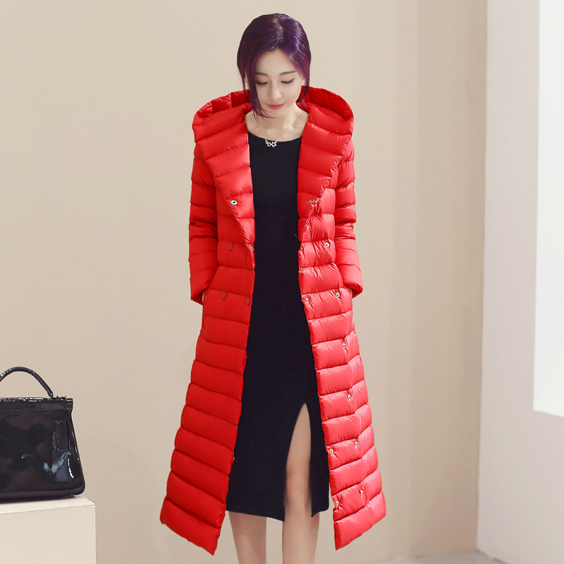 30e320dd54f Women Long Duck Down Coat Hooded Long Sleeve Plus Size Slim Winter Ultra  Light Jacket Outwear red