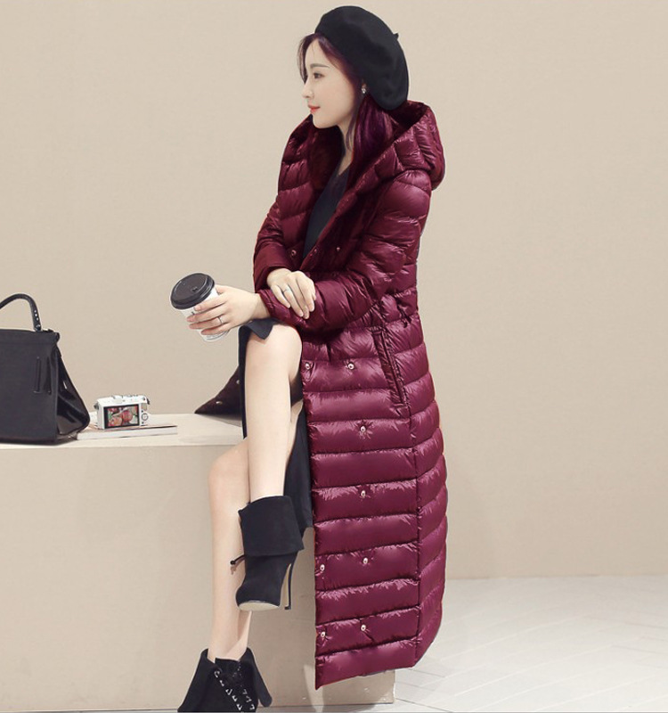 f630bd4f502 Women Long Duck Down Coat Hooded Long Sleeve Plus Size Slim Winter Ultra  Light Jacket Outwear burgundy