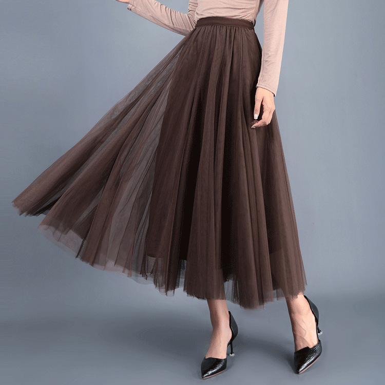 7936bb4948 Women Long Tulle Mesh Skirt Elastic High Waist Streetwear Pleated Tutu A  Line Maxi Skirt coffee