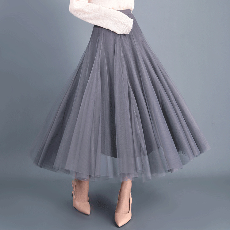 d9f9c6ac45 Women Long Tulle Mesh Skirt Elastic High Waist Streetwear Pleated Tutu A  Line Maxi Skirt gray