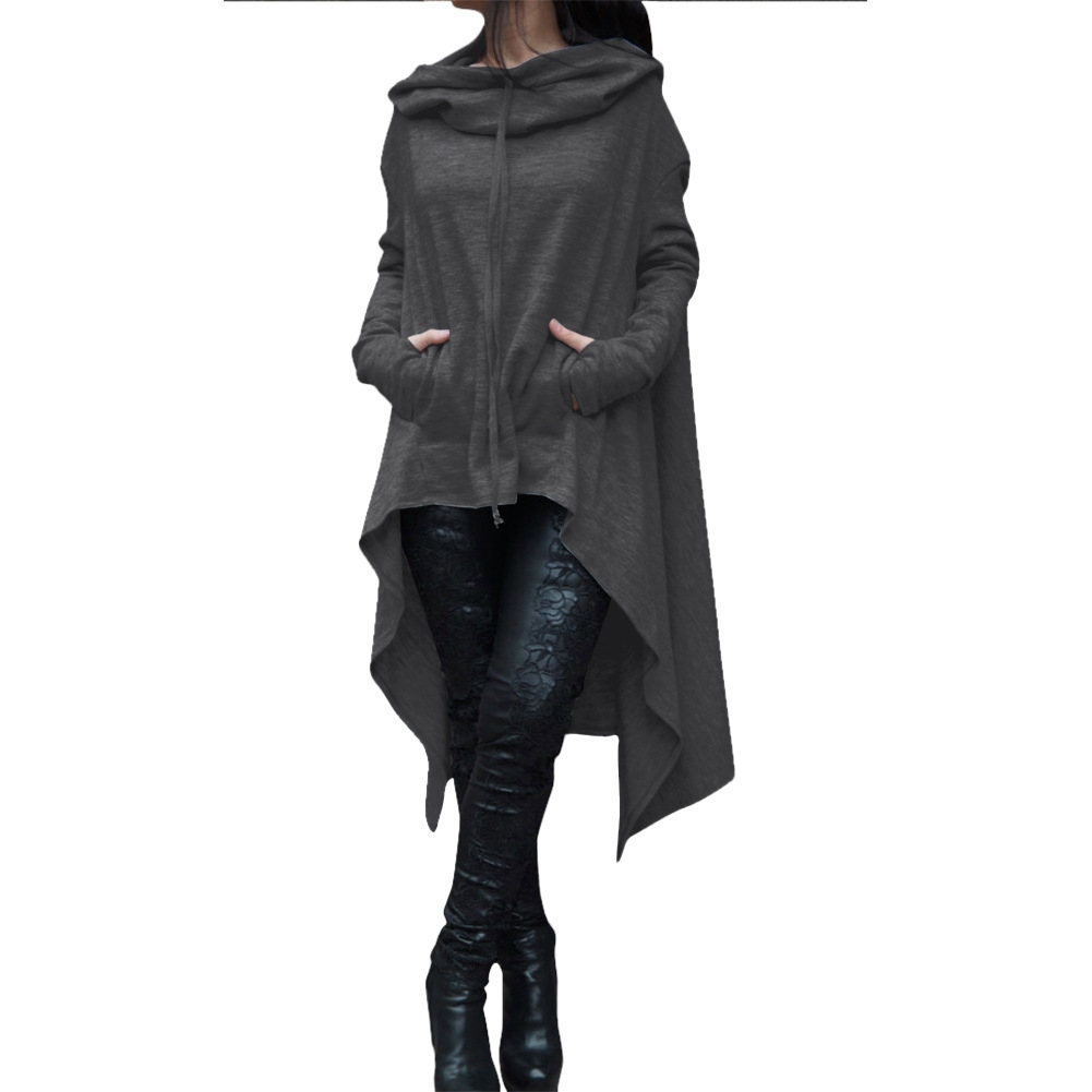 Women Asymmetric Hoodies Autumn Winter Long Sleeve Casual Loose Hooded Sweatshirt Plus Size Pullover Tops dark gray