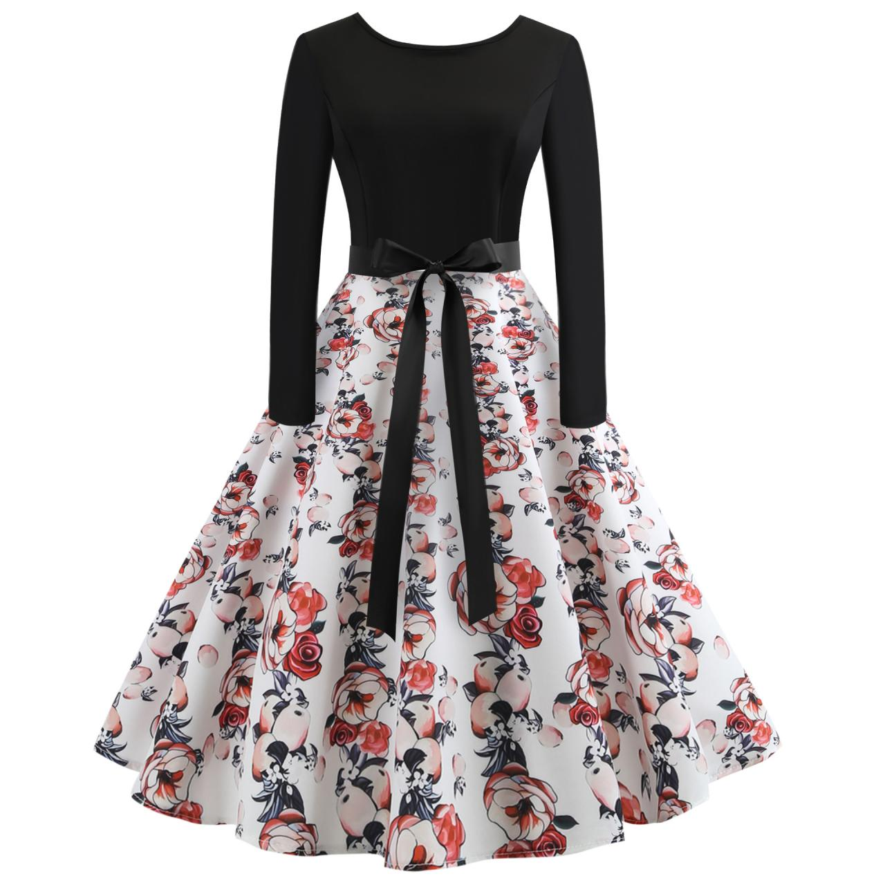 Vintage Floral Printed Dress Autumn Long Sleeve Belted Rockabilly Casual Slim A-Line Formal Party Dress 1#