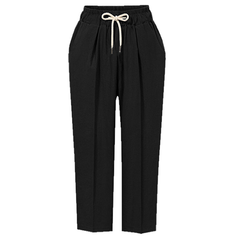 4d2730fcf52 Women Harem Pants Autumn Drawstring High Waist Ankle Length Plus Size  Casual Loose Trousers black