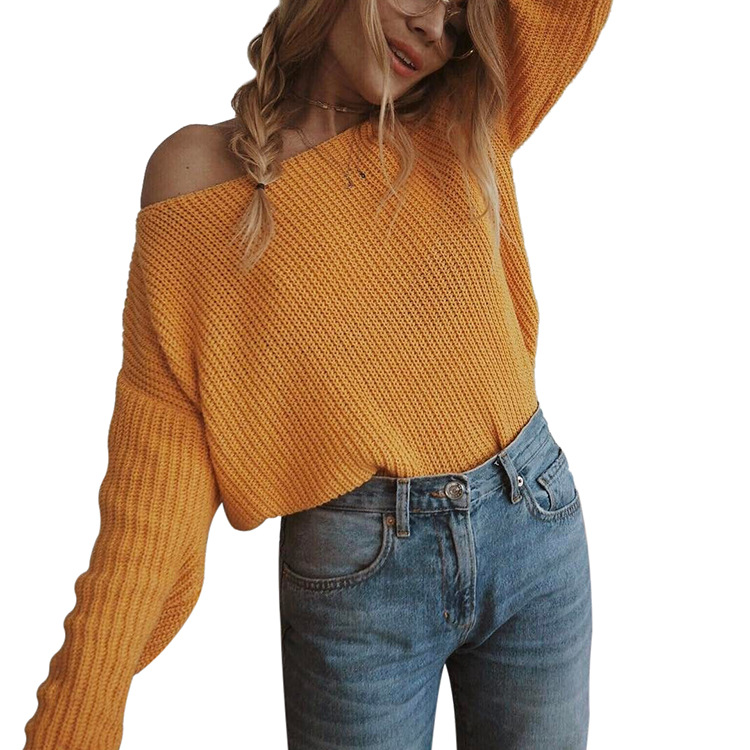 Women Knitted Sweater Autumn Slash Neck Off the Shoulder Long Sleeve Casual Loose Pullover Tops yellow