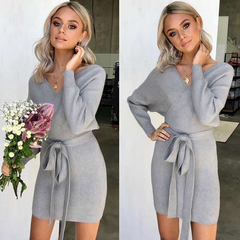 Women Knitted Sweater Dress Autumn V Neck Long Sleeve Belted Casual Slim Mini Club Party Dress gray