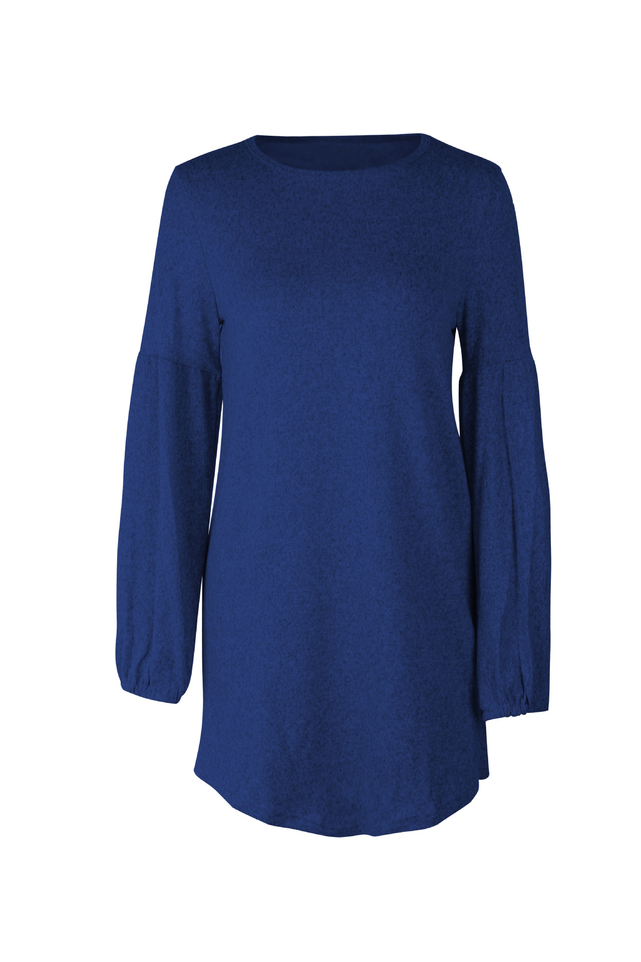 Women Knitted Dress Autumn Winter Long Lantern Sleeve Causal Loose Short A line Sweater Dress royal blue