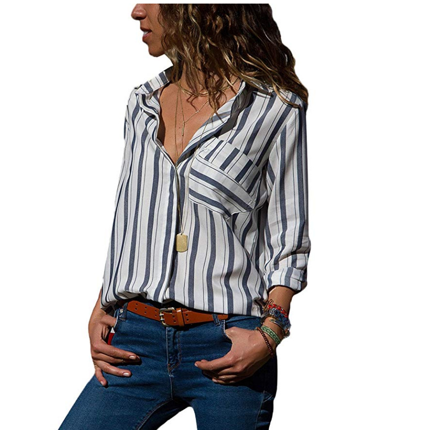 45ee85f976b Women Striped Blouse Spring Autumn Turn-Down Collar V-Neck Long Sleeve Plus  Size Casual Loose Tops Shirt gray+white