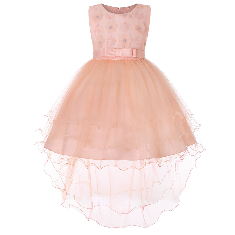 66839d4fa0b High Low Flower Girl Dress Trailing Bow Princess Wedding Birthday Party  Gown Children Clothes salmon