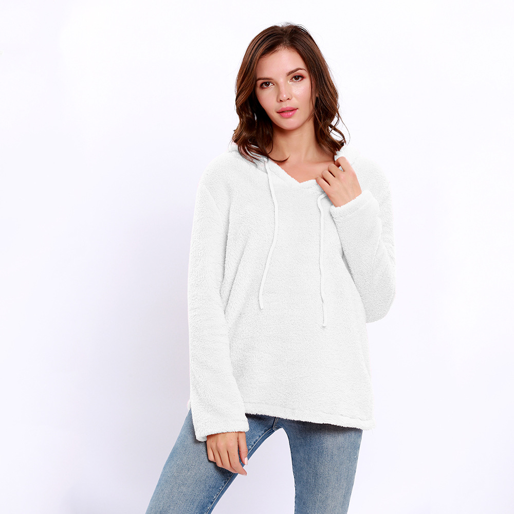 ad602b68380 Women Hoodies Autumn Winter Solid Warm Casual Long Sleeve Pullover Top  Fleece Sweatshirts off white