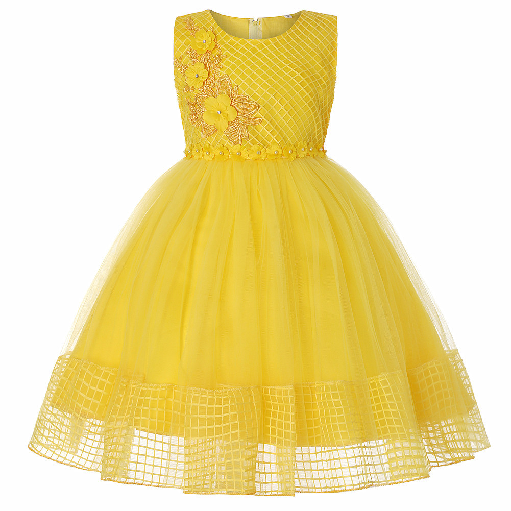 Lace Flower Girl Dress Sleeveless Princess Wedding First Communion Party Ball Gown Children Clothes yellow