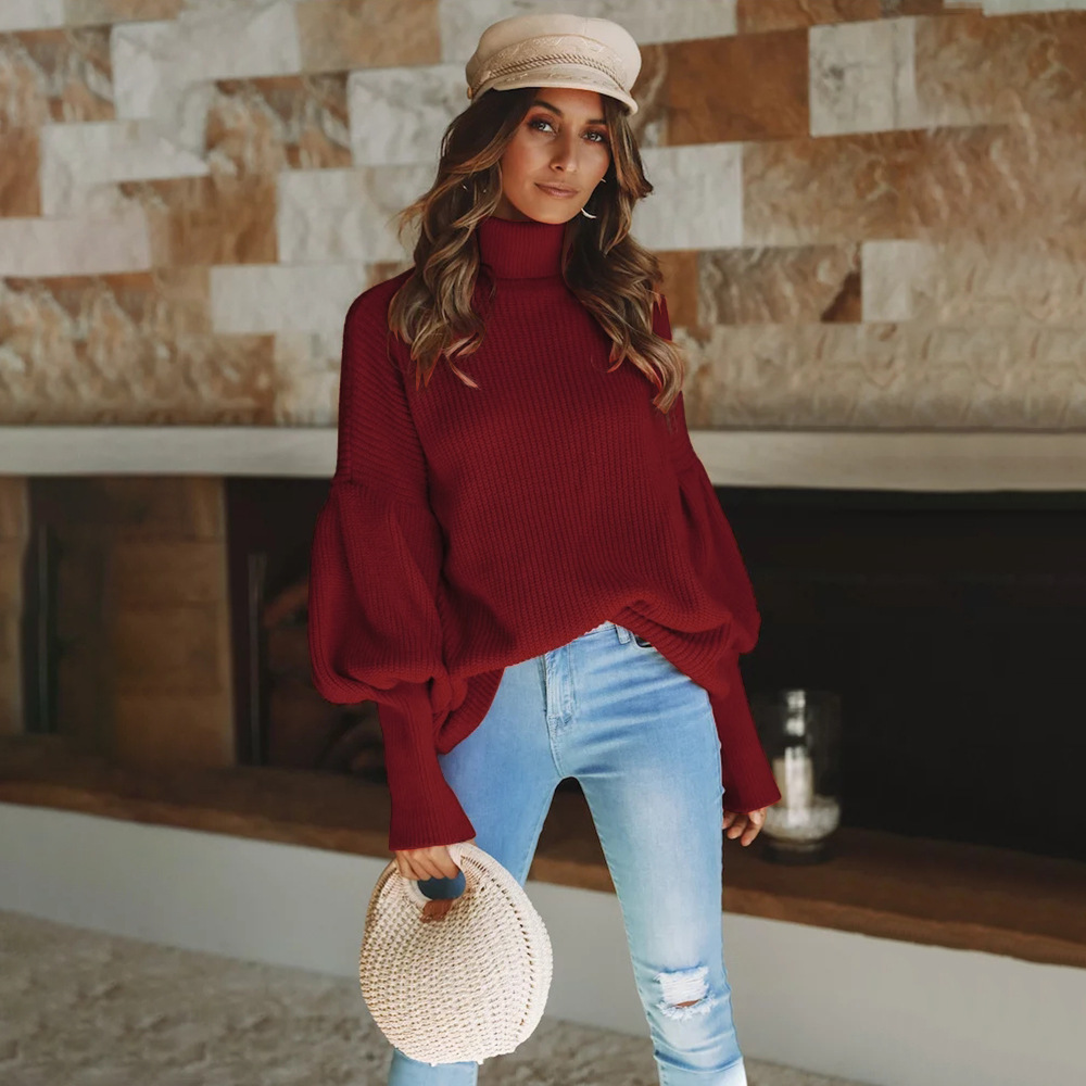 Women Knitted Sweater Autumn Winter Turtleneck Long Lantern Sleeve Solid Streetwear Casual Loose Warm Pullover Tops crimson