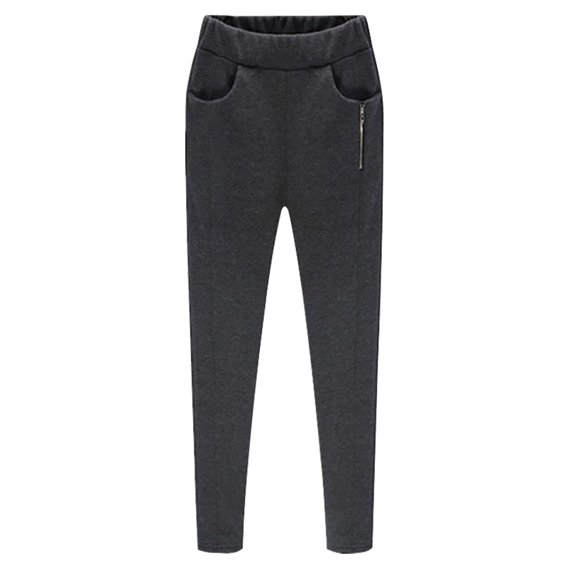 Women Harem Pants Plus Size High Waist Skinny Fleece Casual Warm Zipper Leggings Pencil Trousers dark gray