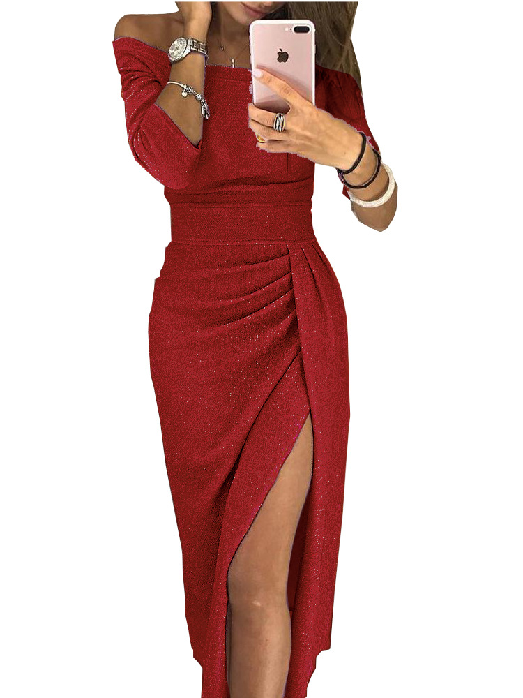 Women Pencil Dress Off the Shoulder Slash Neck 3/4 Sleeve Split Glittering Long Club Prom Party Dress red