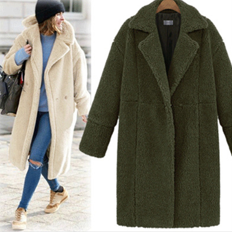 Women Faux Fur Teddy Coat Turn-down Collar Long Sleeve Winter Thick Warm Fluffy Jacket Overcoat Outwear army green