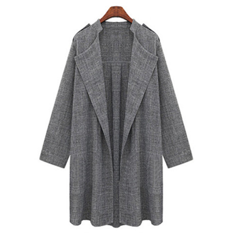 Women Trench Coat Spring Autumn Long Sleeve Plus Size Slim Windbreaker Open Stitch Cardigan Jacket gray