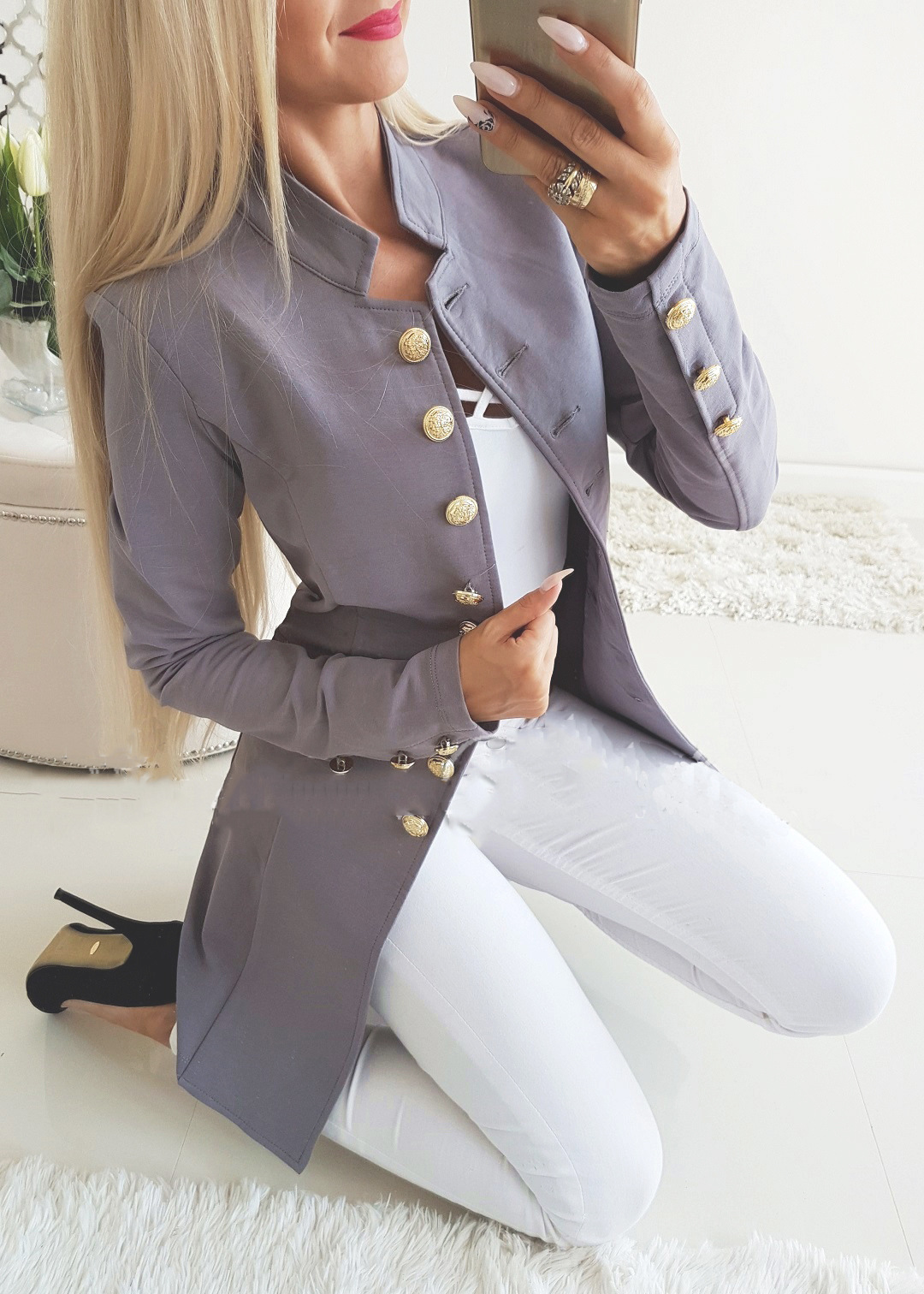 Women Slim Suit Coat Autumn Long Sleeve Single Breasted Button OL Casual Blazer Jacket Outwear gray