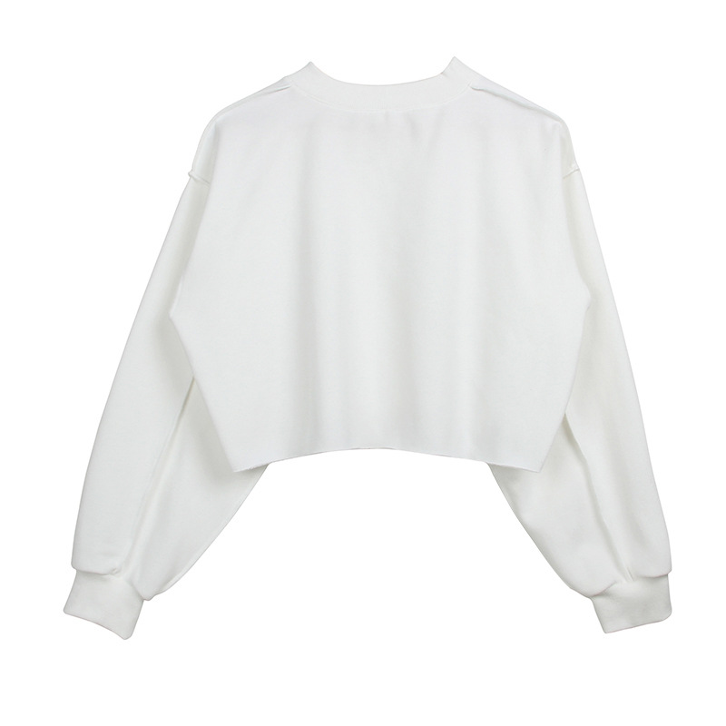 Women Crop Tops Autumn Winter Long Sleeve Pullover Casual Loose Short Fleece Sweatshirt off white