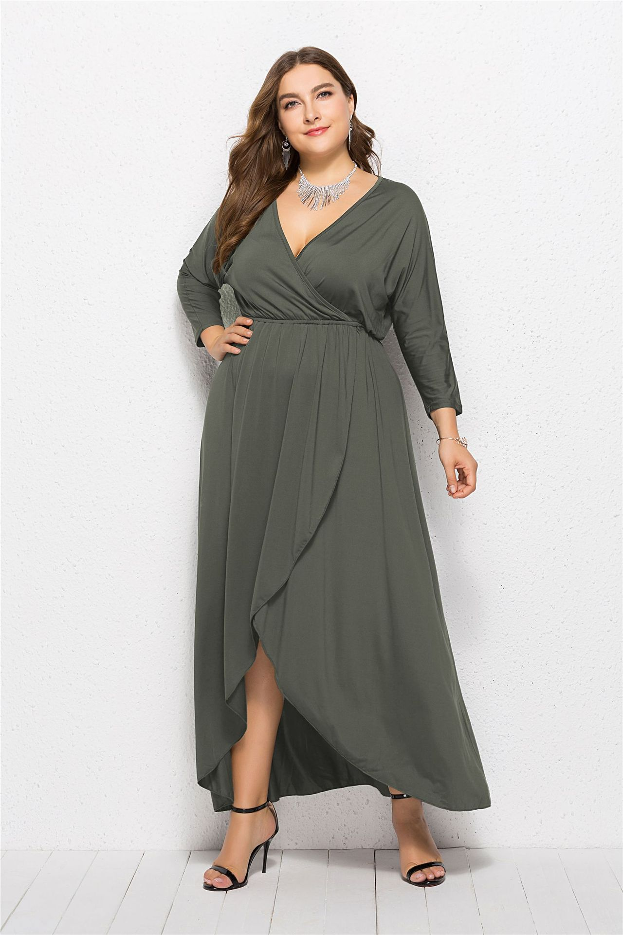 6928fbf1d9b Women Asymmetrical Maxi Dress V-Neck Long Sleeve Plus Size Slim Long Formal  Evening Party