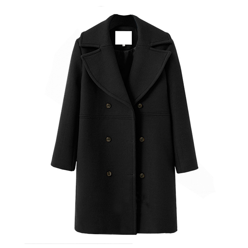 Women Woolen Trench Coat Autumn Winter Turn-down Collar Double Breasted Long Sleeve Casual Loose Long Jakcet black