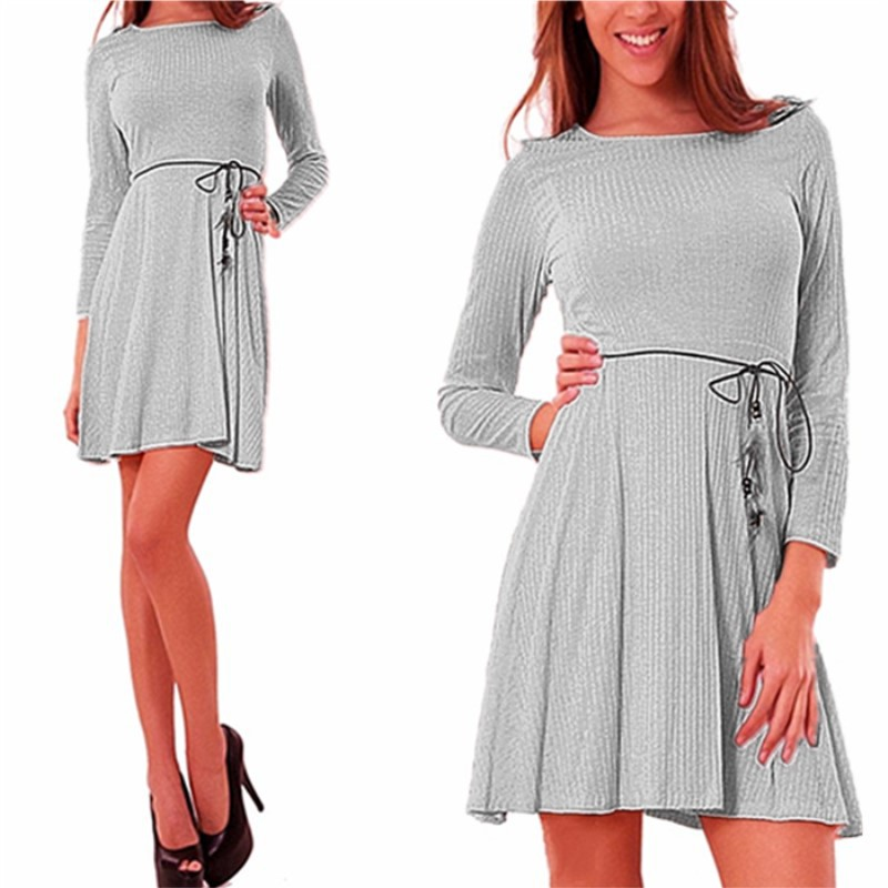 Women Casual Dress Autumn Long Sleeve Belted A-line Mini Club Party Dress gray