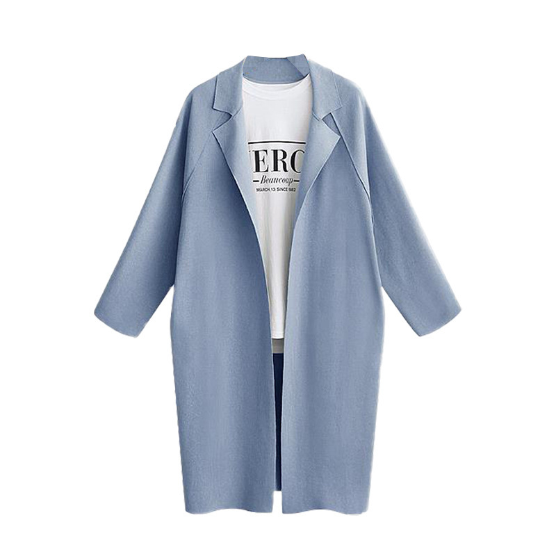 Women Trench Coat Autumn Turn-down Collar Long Sleeve Streetwear Casual Cardigan Jacket Overcoat light blue