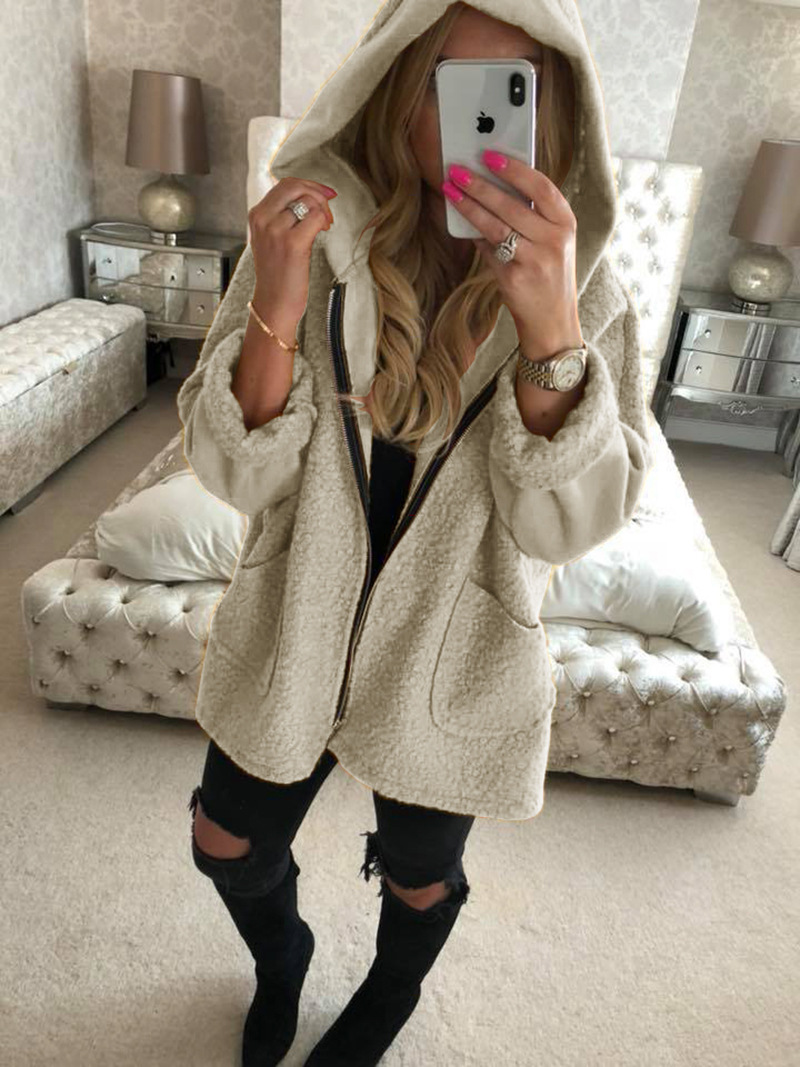 Women Plush Coat Autumn Winter Hooded Zipper Pocket Long Sleeve Warm Casual Loose Jacket Outerwear beige