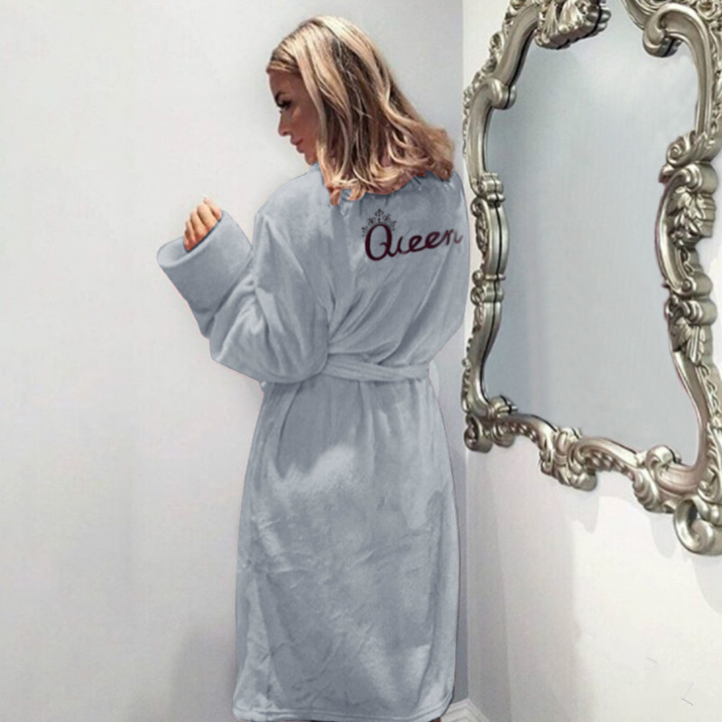Women Flannel Pajamas Winter Warm Belted Long Sleeve Letter Printed Night Dress Sleepwear Bathrobe gray