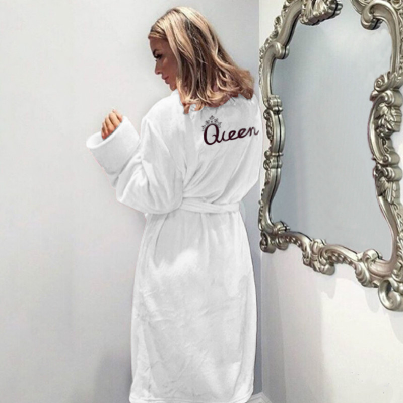 Women Flannel Pajamas Winter Warm Belted Long Sleeve Letter Printed Night  Dress Sleepwear Bathrobe off white 3a98b6df4