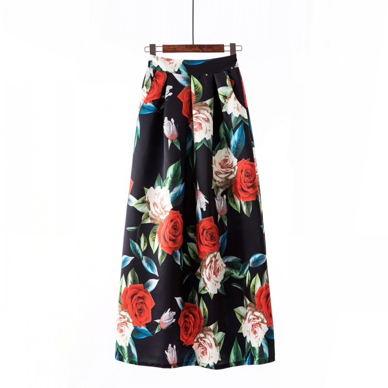 Women Floral Printed Maxi Skirt Vintage High Waist Floor Length Plus Size Pleated A Line Long Skirt 3#