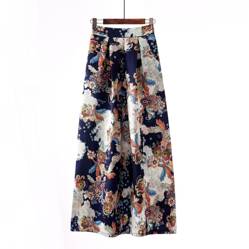 ae33cc0c3 Women Floral Printed Maxi Skirt Vintage High Waist Floor Length Plus Size  Pleated A Line Long