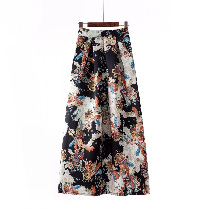 Women Floral Printed Maxi Skirt Vintage High Waist Floor Length Plus Size Pleated A Line Long Skirt 9#