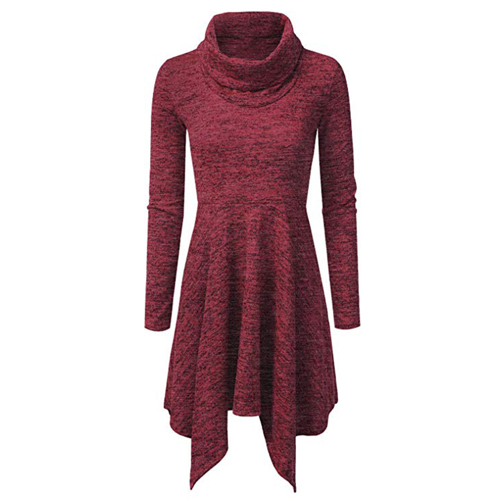Women Casual Dress Autumn Long Sleeve Turtleneck Knitted Asymmetrical Slim Mini Club Party Dress wine red