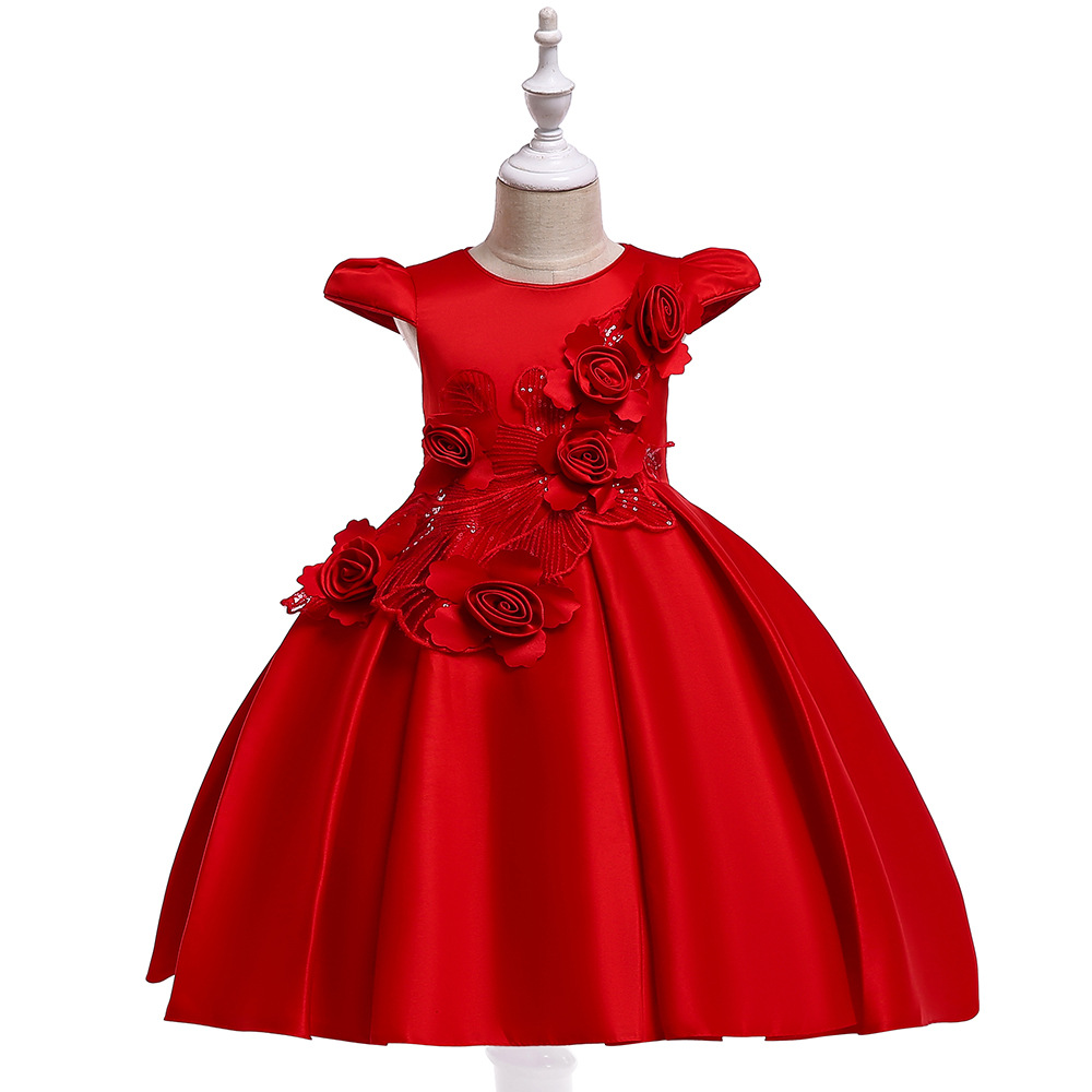 Satin Flower Girl Dress Cap Sleeve Floral Kids Birthday Formal Party Prom Gown Children Clothes red