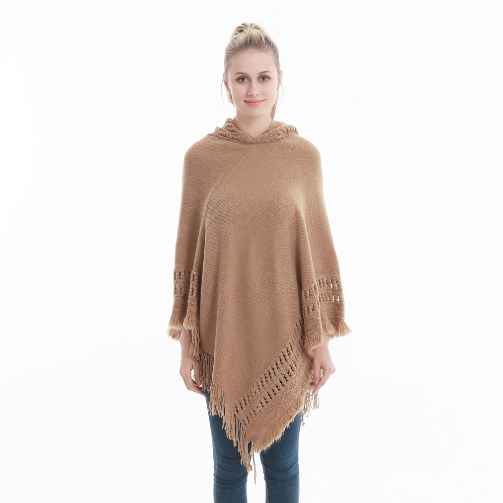 Women Tassel Cape Coat Autumn Winter Knitted Hollow out Hooded Fringe Poncho Asymmetrical Tops camel