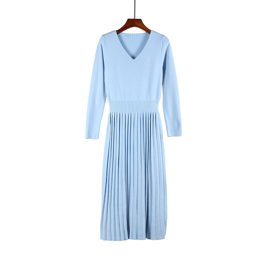 Women Sweater Dress Autumn Winter V Neck Long Sleeve Slim Pleated Elastic Casual Midi Knitted Dress sky blue