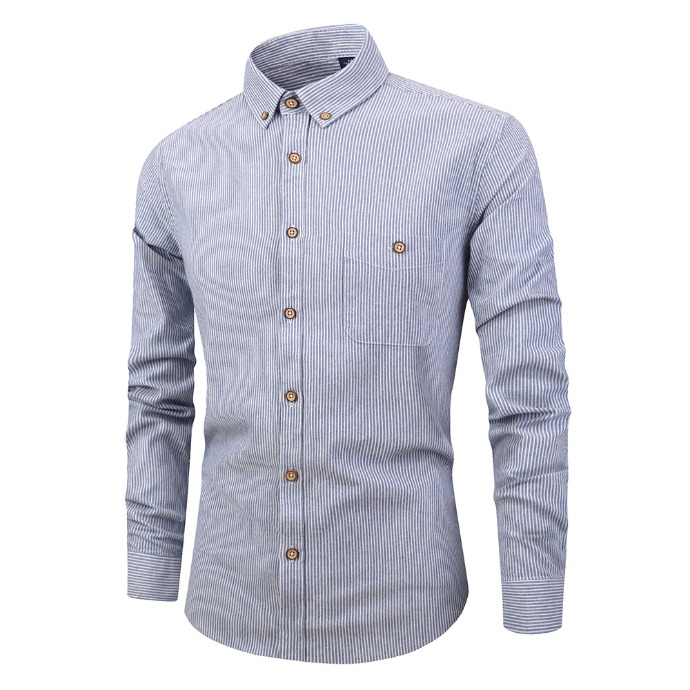 Men Striped Shirt Fashion Long Sleeve Turn-down Collar Button Casual Slim Fit Business Shirt light blue