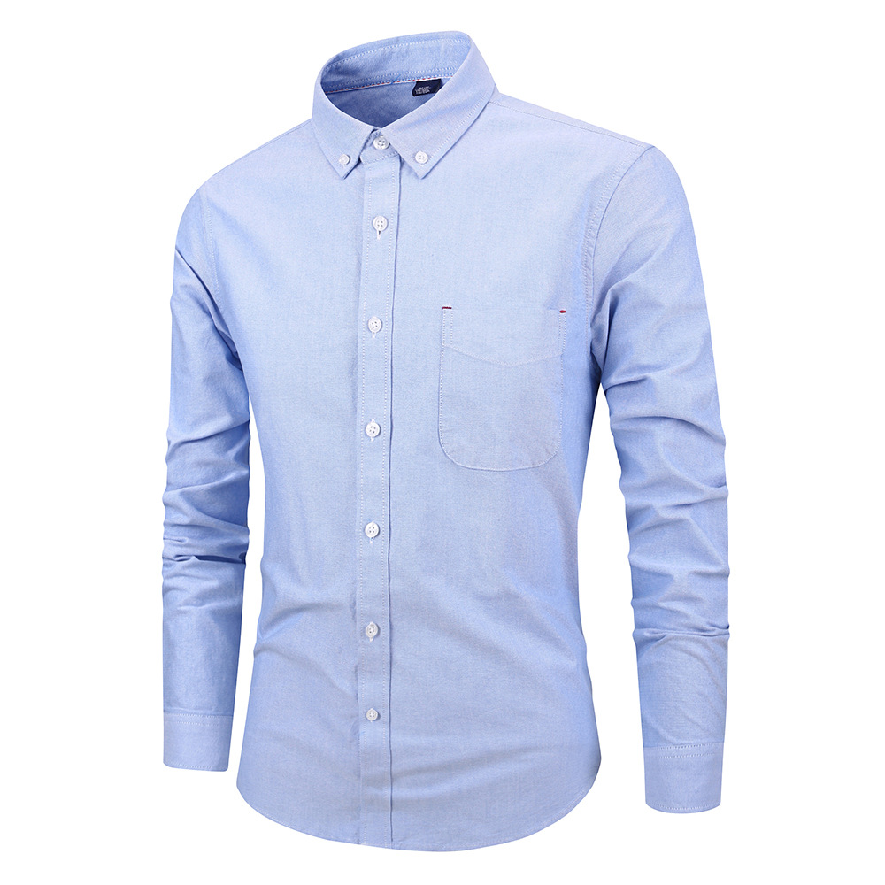Men Shirt Fashion Long Sleeve Turn-down Collar Button Solid Cotton Casual Slim Fit Business Shirt sky blue