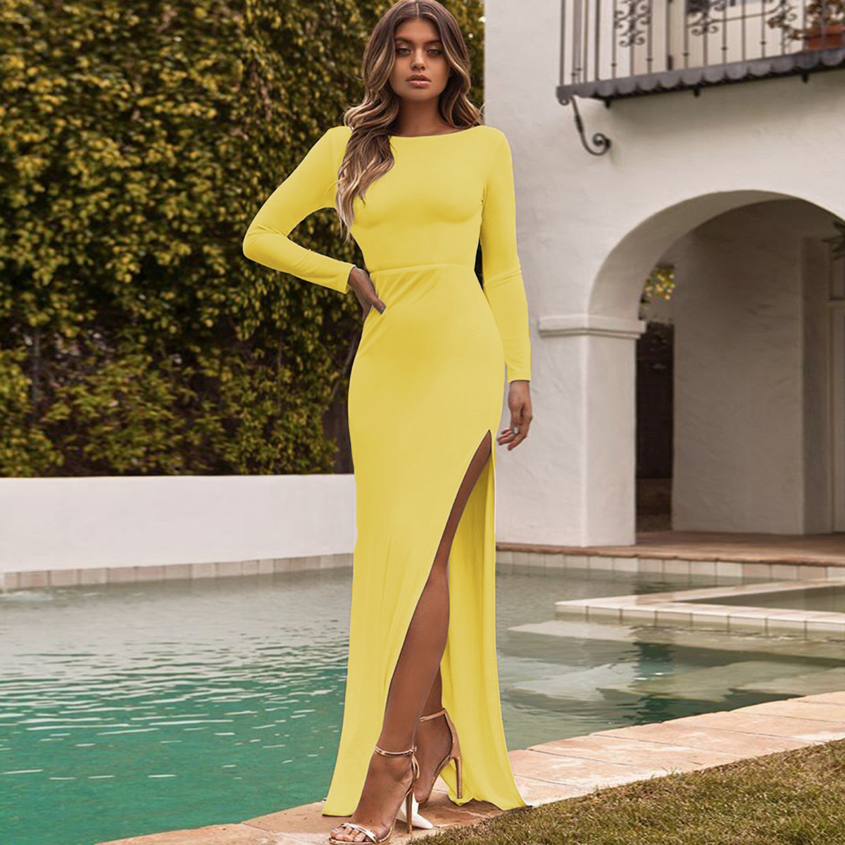 b9d32213a638 Women Slim Maxi Dress Sexy Long Sleeve Backless Split Bodycon Long Night  Club Party Dress yellow